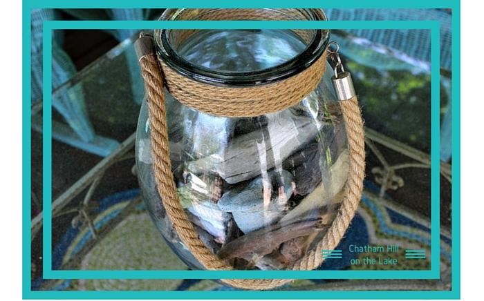 Driftwood in a coastal jar www.chathamhillonthelake.com