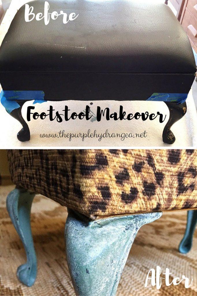 Foot stool Makeover www.thepurplehydrangea.net