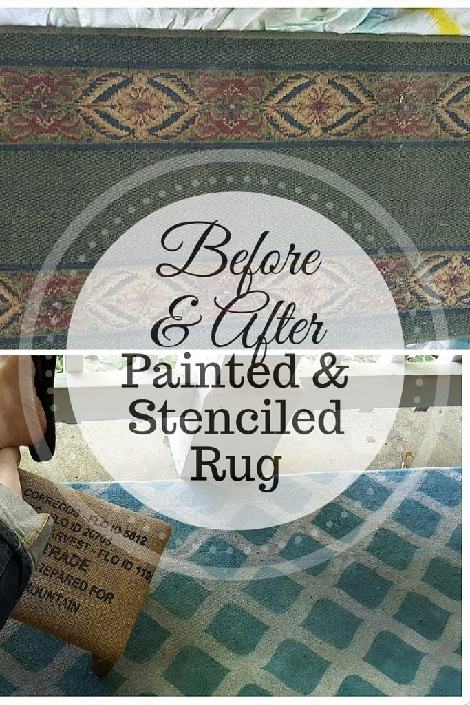 painted and stenciled rug www.mythriftyhouse.com