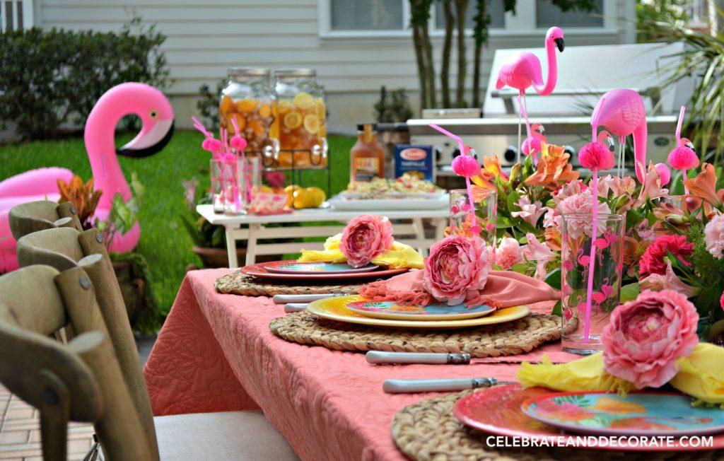 Fun flamingo tablescape www.chathamhillonthelake.com