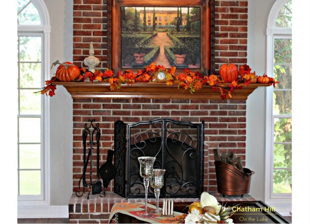 Fall Mantle and Coffee Table www.chathamhillonthelake.com