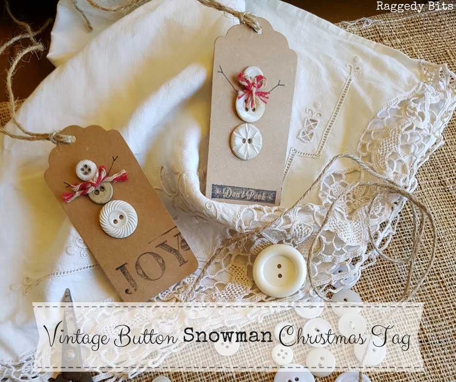 Vintage Button Snowman Gift Tags