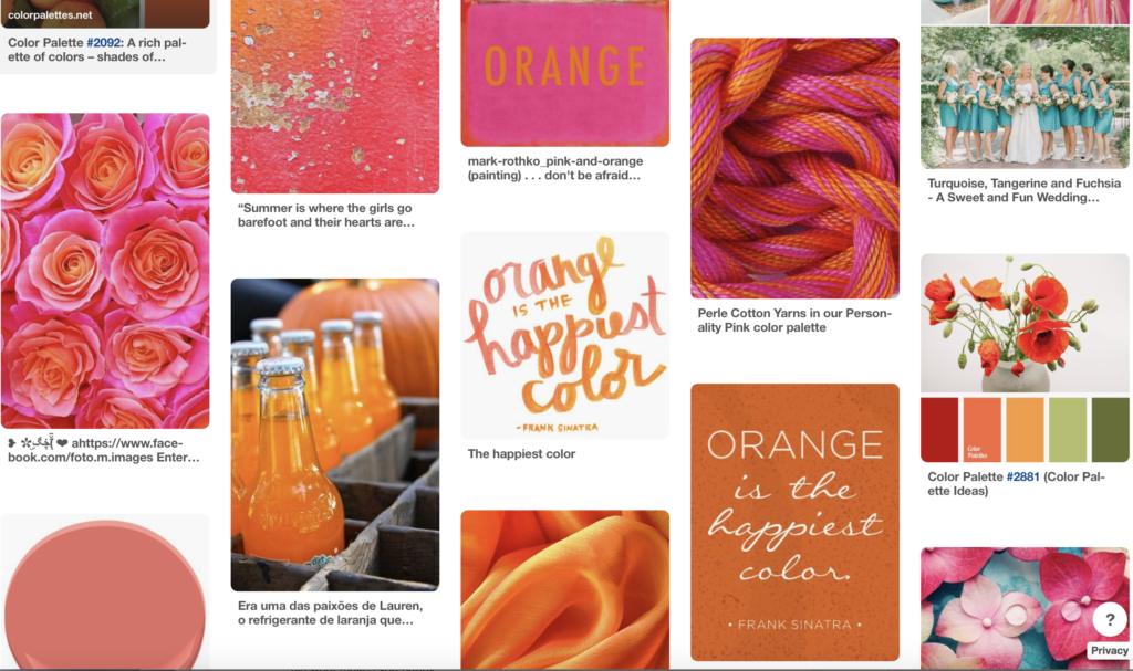 Creating a Mood Board is a fun exercise to find what speaks to you in color, texture, fonts, and feel