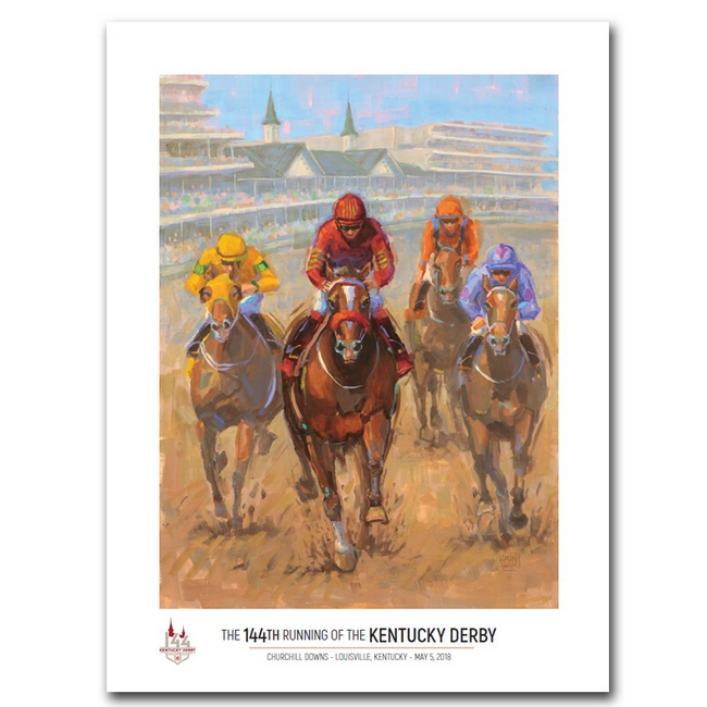 Official art work for the 2018 Kentucky Derby. Plan your party with Debbie at https://www.yourhomeyourhappyplace.com