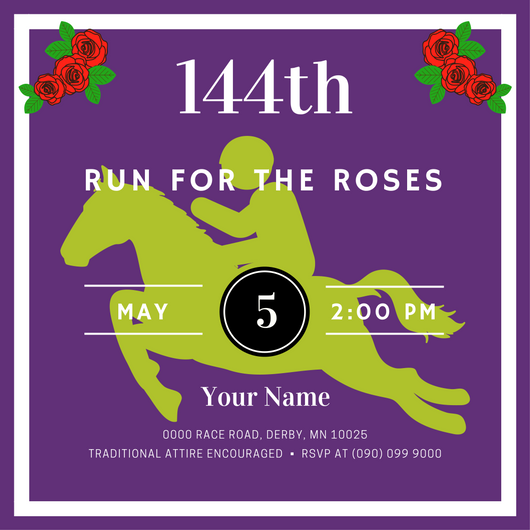 "Run for the Roses Kentucky Derby Invitation, get ready ""They're off!"""