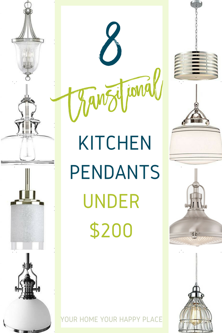 Transform your kitchen by changing out your lighting! These transitional pendant kitchen lights are all under $200. www.yourhomeyourhappyplace.com