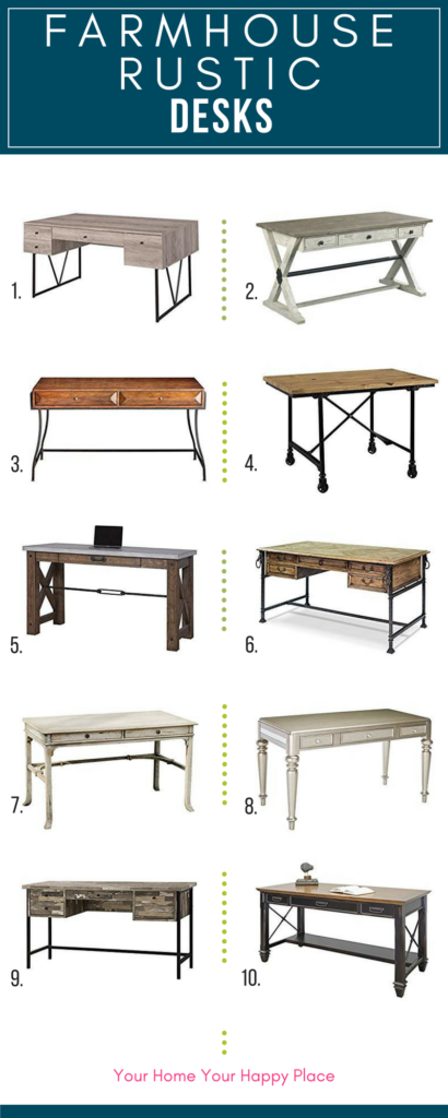 Farmhouse Rustic Desks for your Home office at www.yourhomeyourhappyplace.com