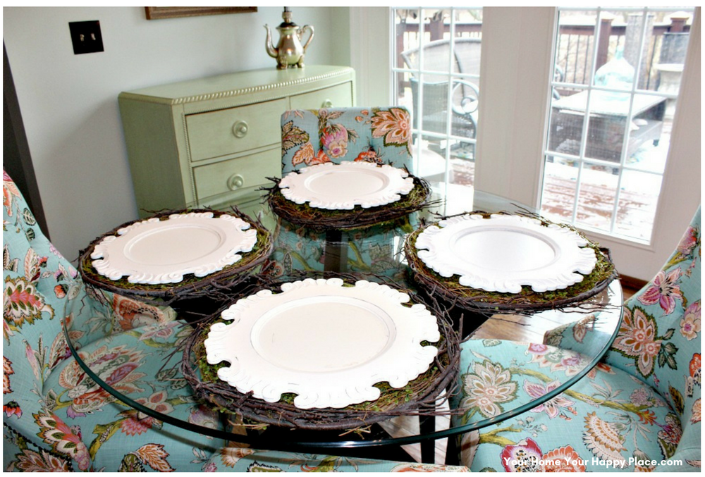 Second Layer of Setting Your Spring Table Decor www.yourhomeyourhappyplace.com