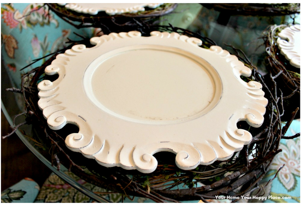 These Cottage Styled Wood Chargers make the perfect transition from the natural placemat to the plate www.yourhomeyourhappyplace.com