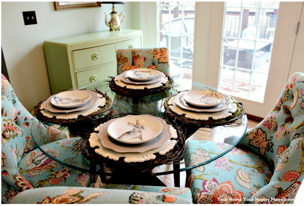 The 4th layer of the Spring Table Decor begins to tell the story www.yourhomeyourhappyplace.com