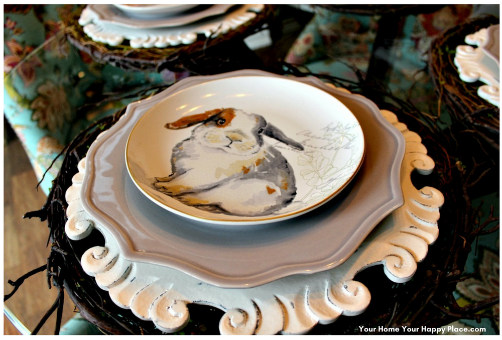 Cute Bunny Luncheon Plate for the 4th layer of the Spring Table Decor www.yourhomeyourhappyplace.com,