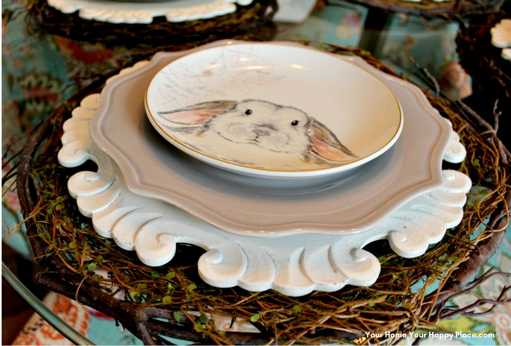 Cutest Bunny Luncheon Plates for your Spring Table Decor www.yourhomeyourhappyplace.com