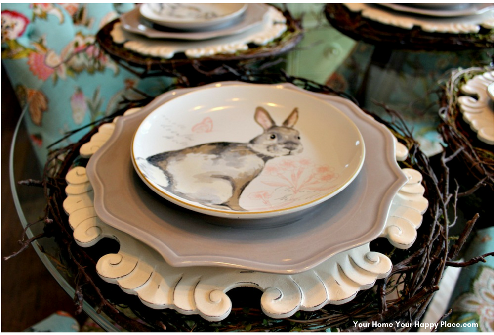 Pink and Gray Bunnies for your Spring Table Decor www.yourhomeyourhappyplace.com