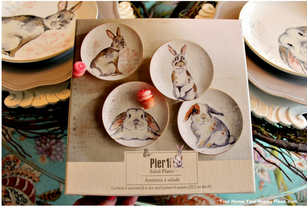 Bunny Luncheon Plates from Pier One www.yourhomeyourhappyplace.com