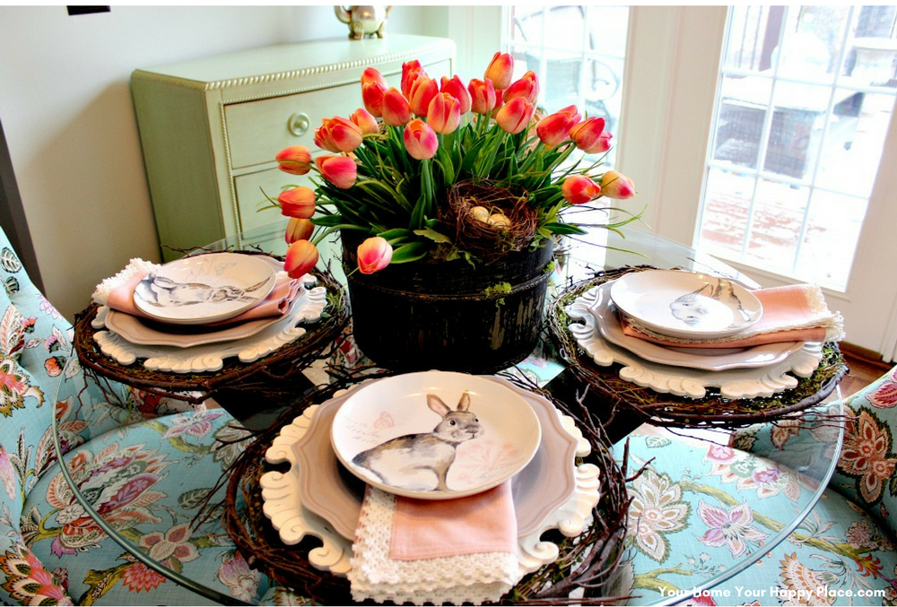Napkins soften and add another texture to the Spring Table Decor www.yourhomeyourhappyplace.com