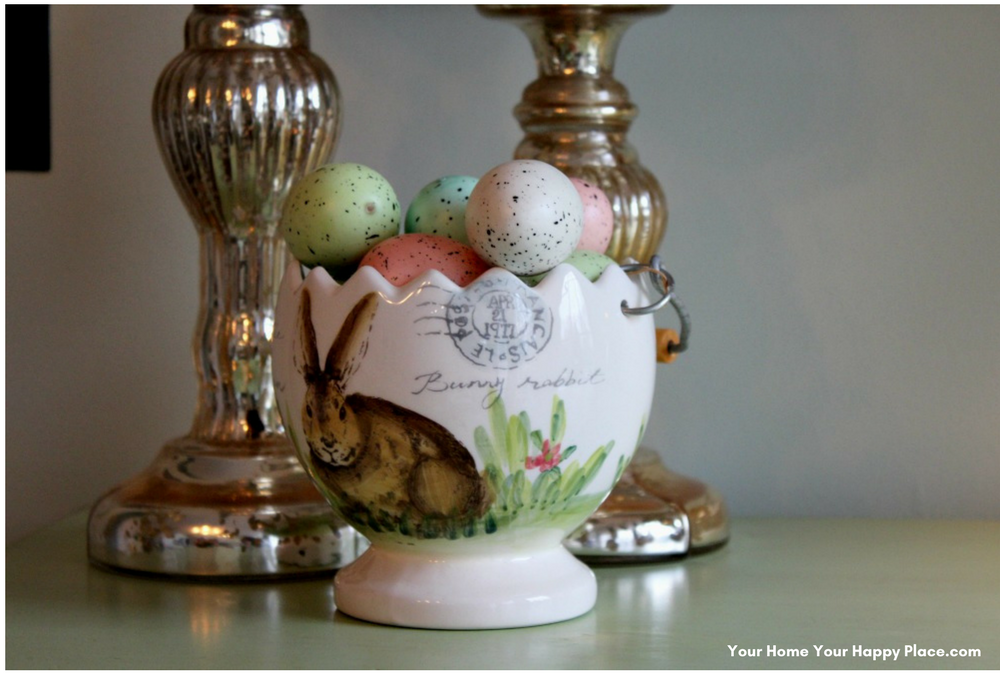 a basket of eggs for Spring Home Decor www.yourhomeyourhappyplace.com
