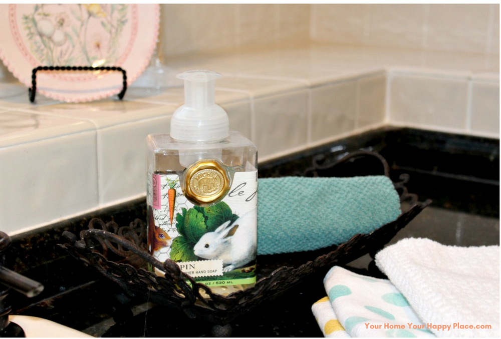 Bunny Soap and Bunny Towels www.yourhomeyourhappyplace.com