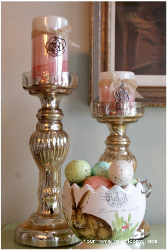 I set things in threes often when setting up decorating items www.yourhomeyourhappyplace.com