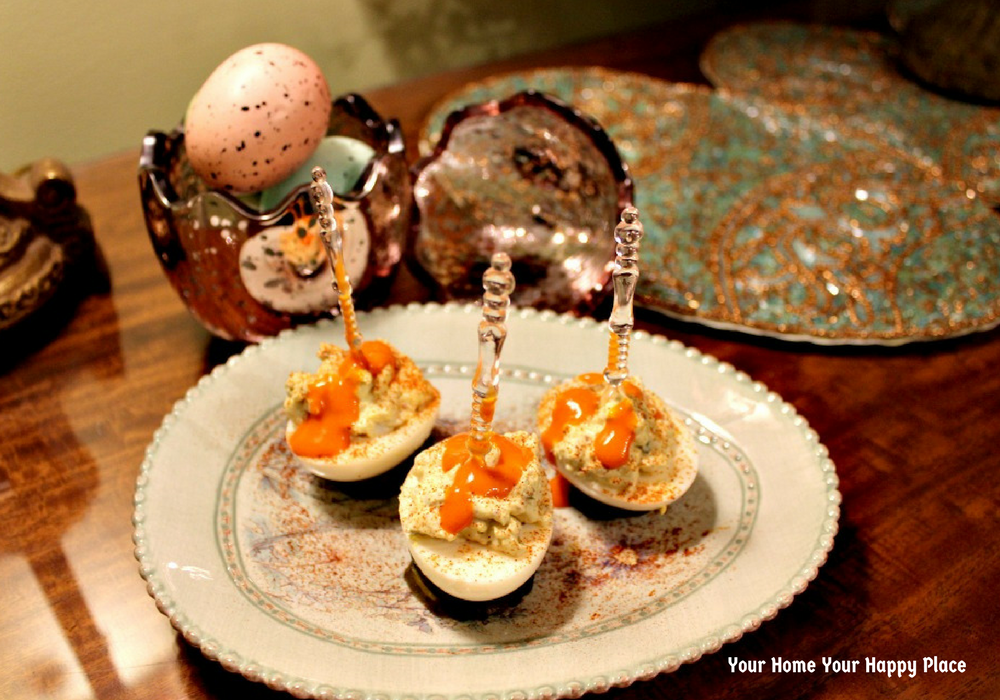 Some Like It Hot Winged Devils deviled eggs plated www.yourhomeyourhappyplace.com