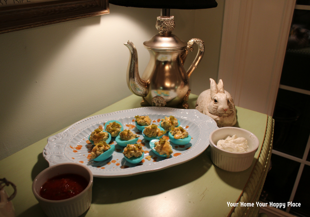 South of the Border Devils Deviled Eggs plated www.yourhomeyourhappyplace.com