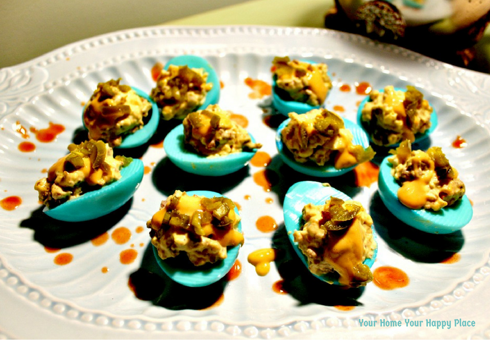 Presentation of South of the Border Devils Deviled Eggs for Easter www.yourhomeyourhappyplace.com