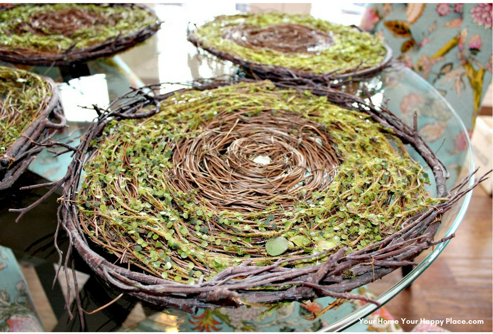 These natural twig and artificial greenery placemats make a stunning first layer to my Spring Table Decor www.yourhomeyourhappyplace.com