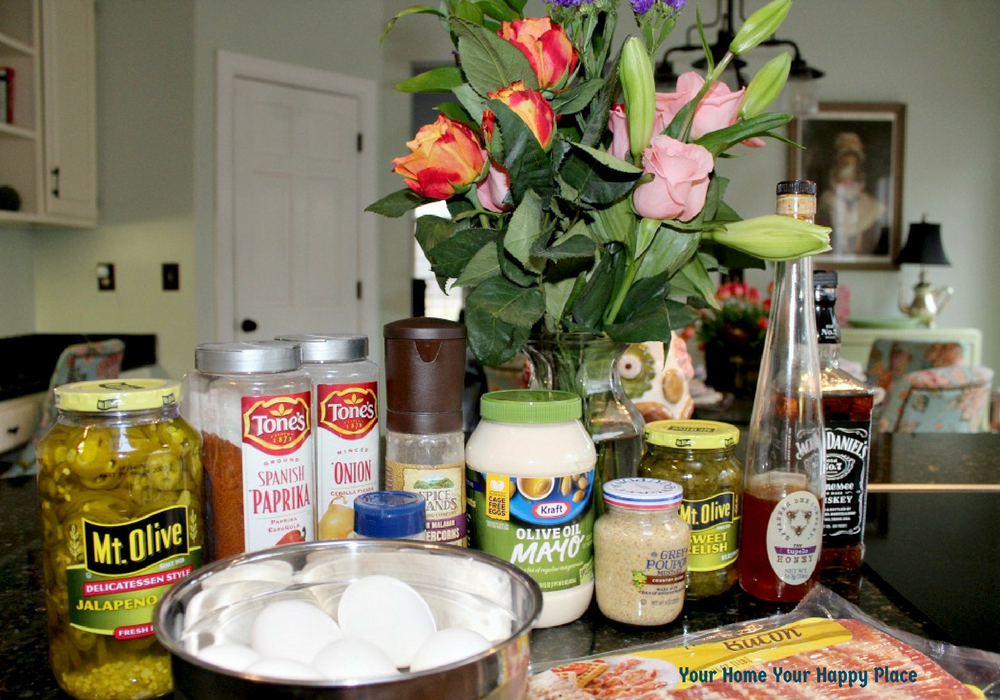 Kentucky derby Bourbon Devils Deviled Eggs Ingredients www.yourhomeyourhappyplace.com