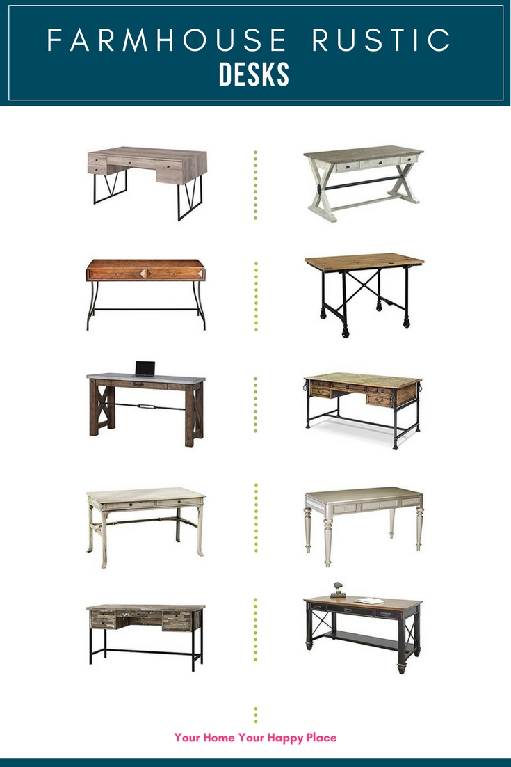 10 Farmhouse Rustic Desks for your Home Office at www.yourhomeyourhappyplace.com